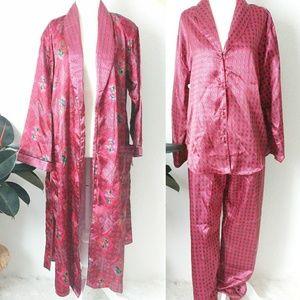 NWT Vintage 3 Piece Pajama & Robe Night Set S/M